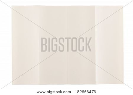 four parts folded of eye care paper by long side isolated on white background, eye care paper is naturally color base paper for comfortable reading.
