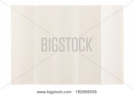 five parts folded of eye care paper by long side isolated on white background, eye care paper is naturally color base paper for comfortable reading.