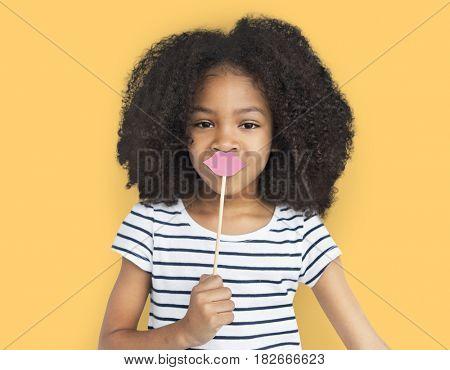 African Descent Little Girl Fake Lips Concept