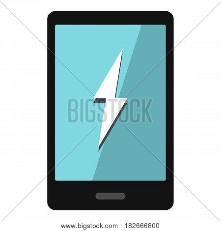 Warning phone icon flat isolated on white background vector illustration