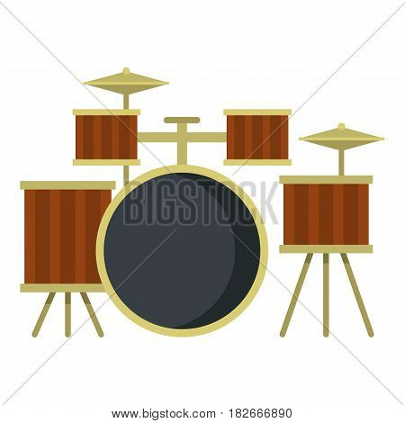 Drum setting icon flat isolated on white background vector illustration