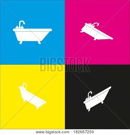 Bathtub sign illustration. Vector. White icon with isometric projections on cyan, magenta, yellow and black backgrounds.