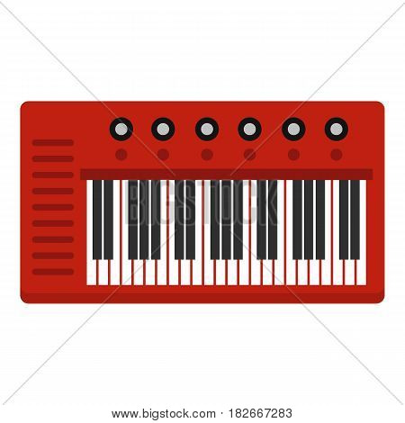 Red synthesizer icon flat isolated on white background vector illustration