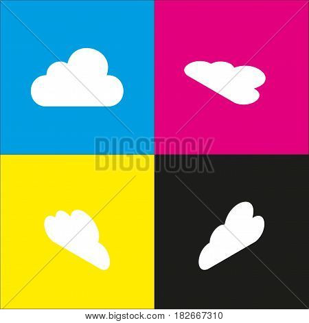 Cloud sign illustration. Vector. White icon with isometric projections on cyan, magenta, yellow and black backgrounds.