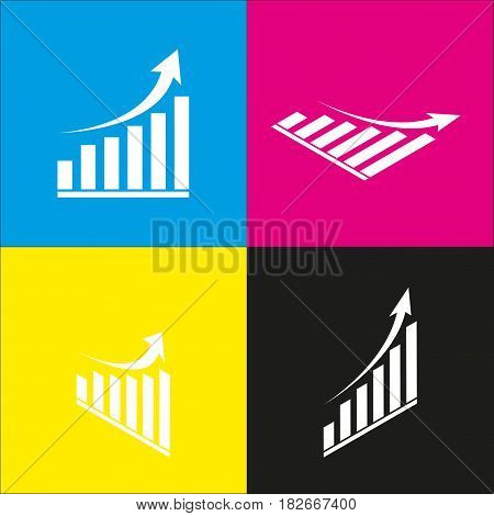 Growing graph sign. Vector. White icon with isometric projections on cyan, magenta, yellow and black backgrounds.