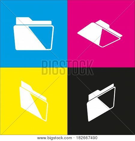 Folder sign illustration. Vector. White icon with isometric projections on cyan, magenta, yellow and black backgrounds.