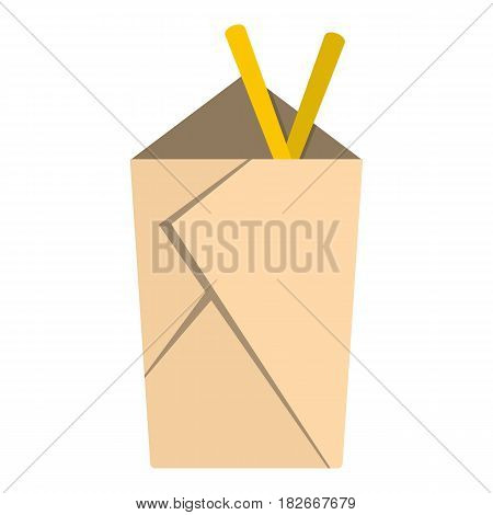 Chinese take out box with chopsticks inside icon flat isolated on white background vector illustration