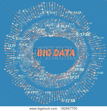 Big data circular visualization. Futuristic infographic. Information aesthetic design. Visual data complexity. Complex data threads graphic visualization. Social network representation. Abstract data graph