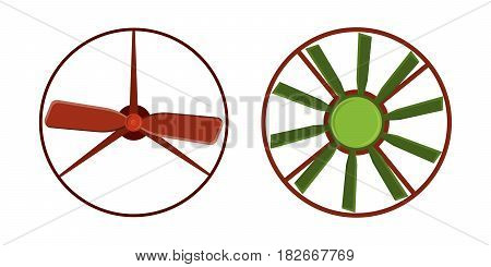 Turbines icon propeller fan rotation technology equipment blade wind ventilator generator vector illustration. Propeller fan vector electric industrial ventilators.