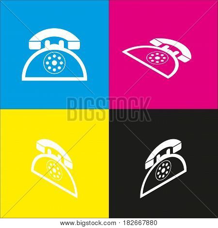 Retro telephone sign. Vector. White icon with isometric projections on cyan, magenta, yellow and black backgrounds.