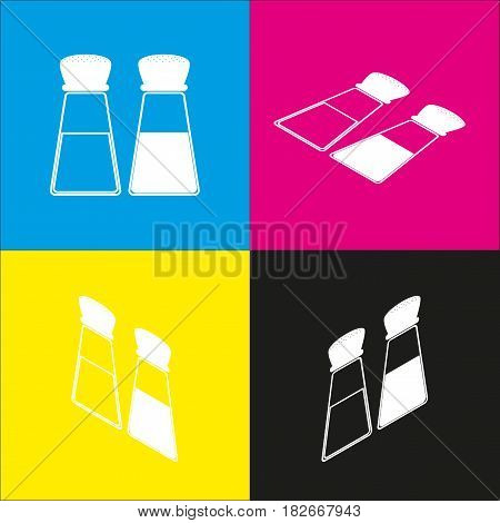 Salt and pepper sign. Vector. White icon with isometric projections on cyan, magenta, yellow and black backgrounds.