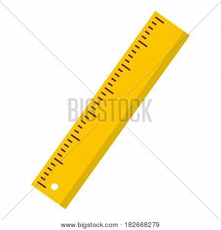 Yellow ruler icon flat isolated on white background vector illustration