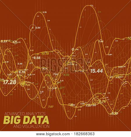 Big data line graph red visualization. Futuristic infographic. Information aesthetic design. Visual data complexity. Complex data threads graphic visualization. Social network. Abstract graph.