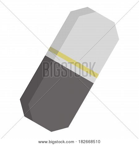 Gray rubber pencil eraser icon flat isolated on white background vector illustration
