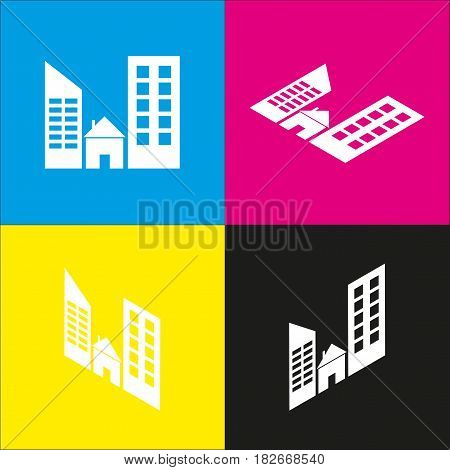 Real estate sign. Vector. White icon with isometric projections on cyan, magenta, yellow and black backgrounds.