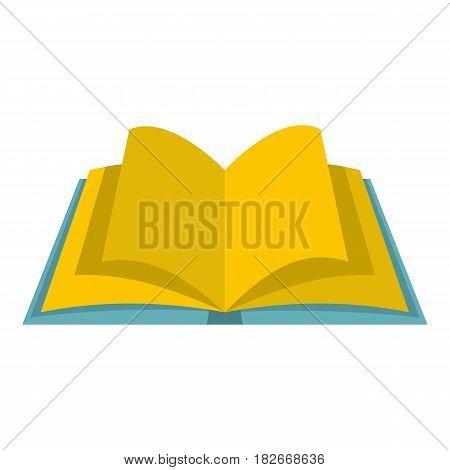 Open book with yellow pages icon flat isolated on white background vector illustration