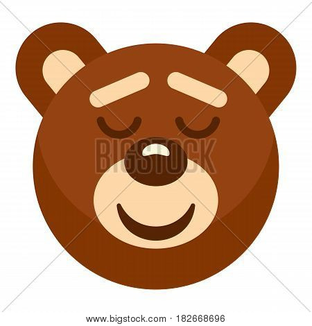 Brown teddy bear head icon flat isolated on white background vector illustration