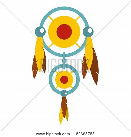 Dreamcatcher with colorful feathers icon flat isolated on white background vector illustration