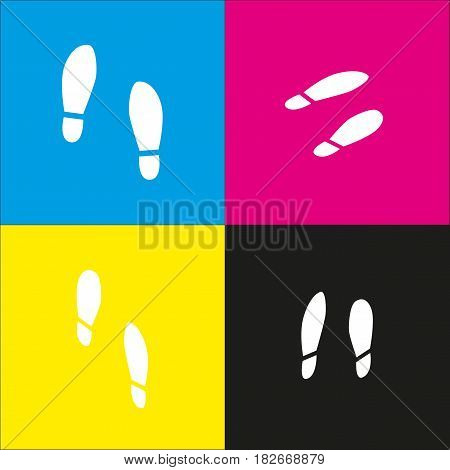 Imprint soles shoes sign. Vector. White icon with isometric projections on cyan, magenta, yellow and black backgrounds.