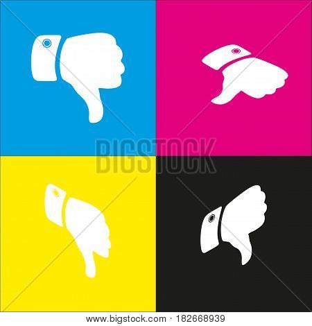 Hand sign illustration. Vector. White icon with isometric projections on cyan, magenta, yellow and black backgrounds.