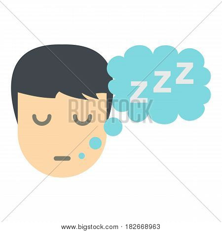 Sleeping person with thought bubble of z icon flat isolated on white background vector illustration