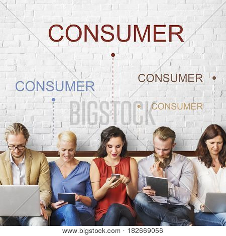 Diverse people consumer word graphic background