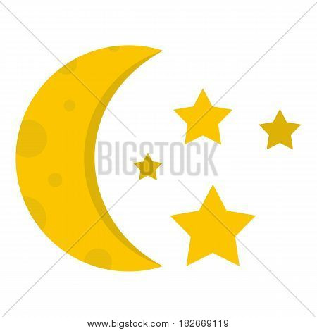 Night sky with stars and moon icon flat isolated on white background vector illustration