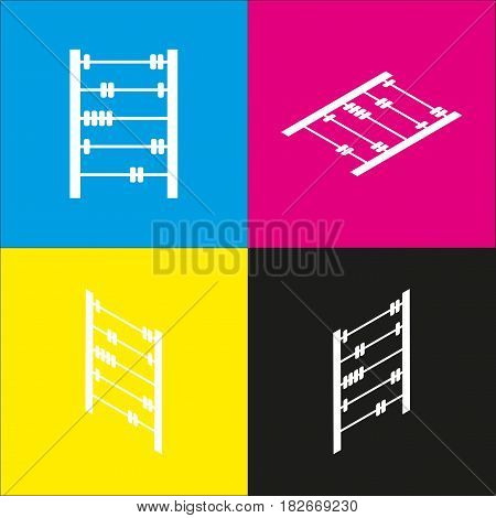 Retro abacus sign. Vector. White icon with isometric projections on cyan, magenta, yellow and black backgrounds.