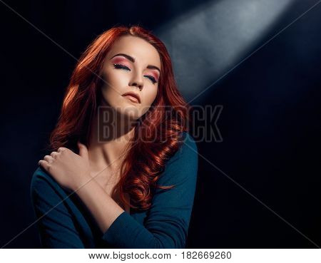 Young pretty sensual woman with bright fashionable makeup