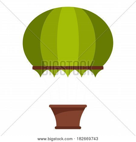 Green hot air balloon icon flat isolated on white background vector illustration