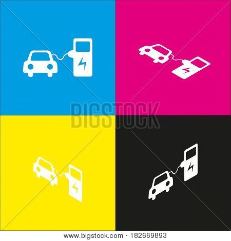 Electric car battery charging sign. Vector. White icon with isometric projections on cyan, magenta, yellow and black backgrounds.