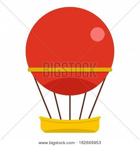 Red aerostat balloon icon flat isolated on white background vector illustration