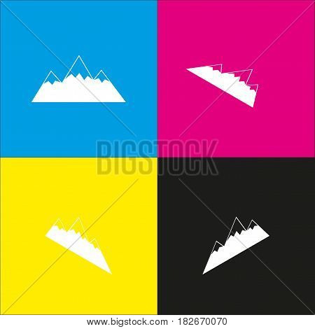 Mountain sign illustration. Vector. White icon with isometric projections on cyan, magenta, yellow and black backgrounds.
