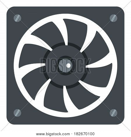 Computer power supply fan icon flat isolated on white background vector illustration