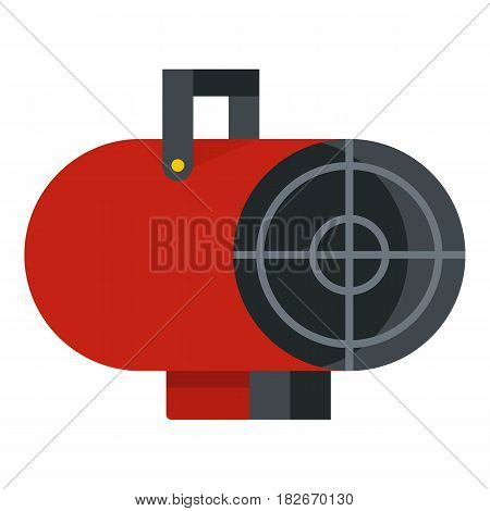 Red industrial electric fan heater icon flat isolated on white background vector illustration