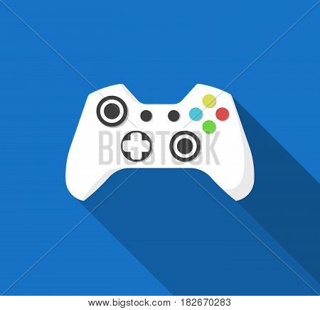 Flat Style Gamepad, Joystick Icon with Long Shadow, Vector Illustration.