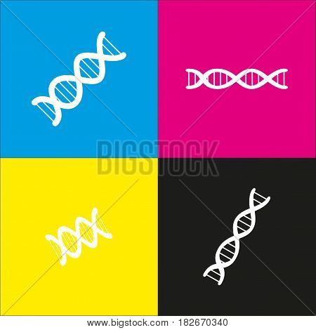 The DNA sign. Vector. White icon with isometric projections on cyan, magenta, yellow and black backgrounds.