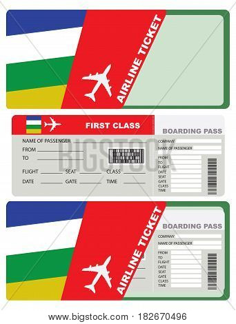 The ticket for the trip to Central African Republic. A ticket to the service packaging envelope.