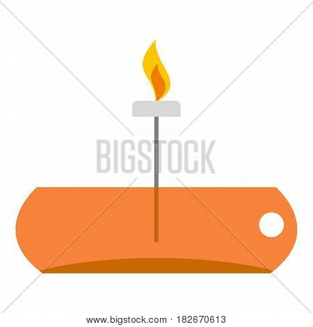 Chemical alcohol burner icon flat isolated on white background vector illustration