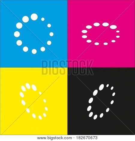 Circular loading sign. Vector. White icon with isometric projections on cyan, magenta, yellow and black backgrounds.