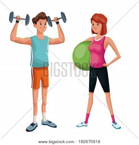 couple training sport practice vector illustration eps 10