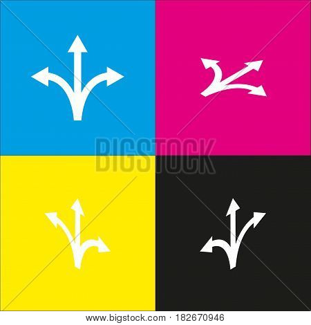 Three-way direction arrow sign. Vector. White icon with isometric projections on cyan, magenta, yellow and black backgrounds.