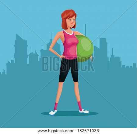 woman sports training fitball urban background vector illustration eps 10