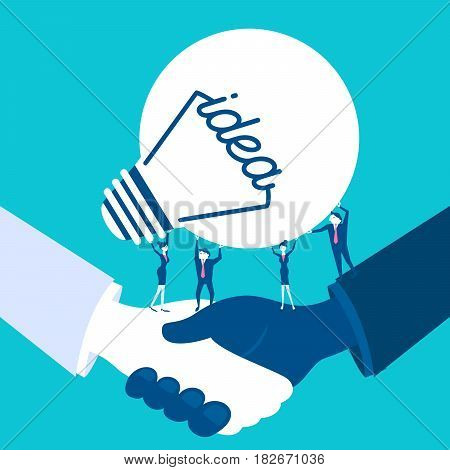 cute cartoon business people with light bulb on blue background