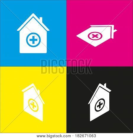 Hospital sign illustration. Vector. White icon with isometric projections on cyan, magenta, yellow and black backgrounds.