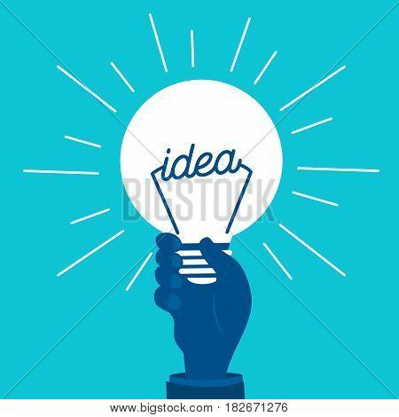 cute cartoon hand hold light bulb on blue background