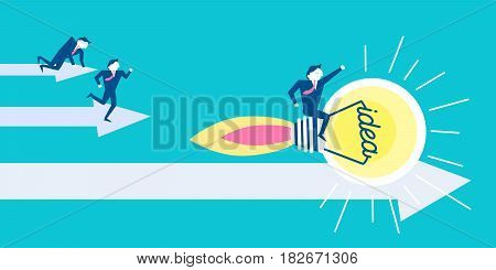 cute cartoon businesman with light bulb on blue background