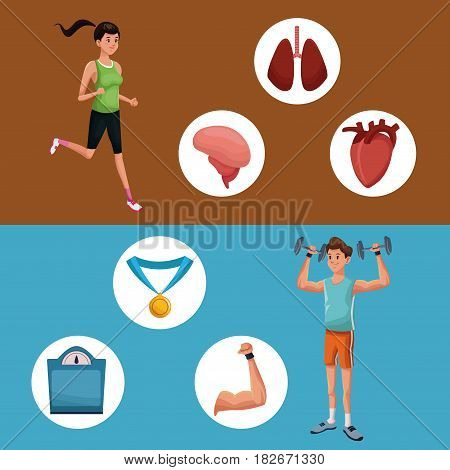 man sports jump rope training healthy vector illustration eps 10