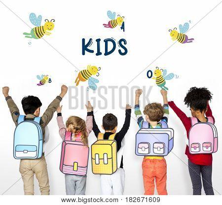 Kids Children Friendship Together Team Bee Graphic