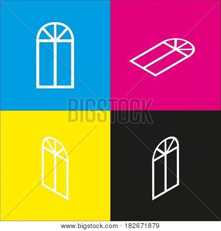 Window simple sign. Vector. White icon with isometric projections on cyan, magenta, yellow and black backgrounds.